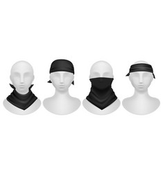 Black bandana realistic mannequins mockup with vector