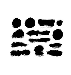 black paint ink brush strokes collection vector image