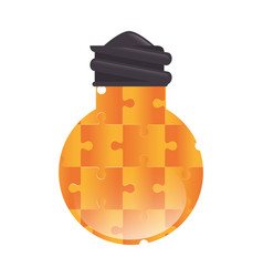 bulb light with puzzle pieces education icon vector image