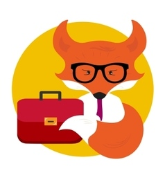 Business fox with business bag vector image