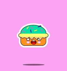 Cake macaron smile cartoon face food kawaii flat vector
