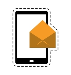 Cellphone message email envelope cut line vector
