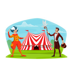 circus clown and cartoon poster vector image