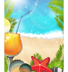 Cocktail on tropical background2 vector image