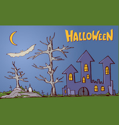 color cartoon shapes on halloween theme vector image