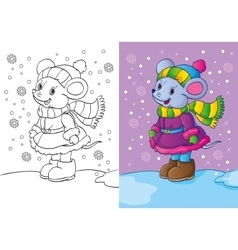 Coloring Book Of Mouse Dressed In Winter Clothes vector