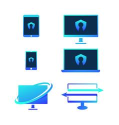 computer logo icon design vector image