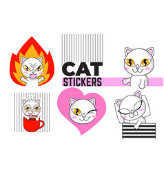 cute cat set stickers isolated on white vector image
