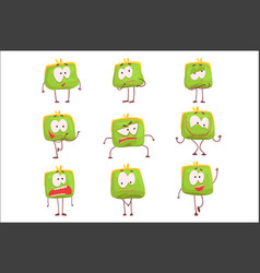 Cute green humanized purse with funny faces set of vector