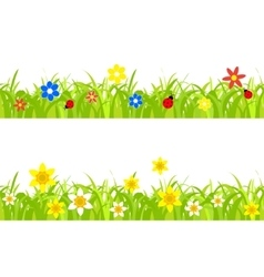 Daffodils in grass vector