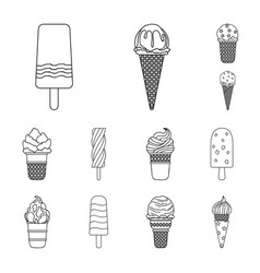 different ice cream outline icons in set vector image