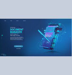 Document manager - mobile phone app for business vector
