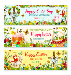 easter cartoon banner with spring holiday symbols vector image