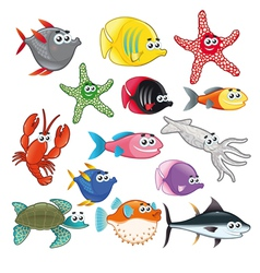 Family of funny fish vector