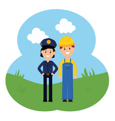 female police officer with builder vector image