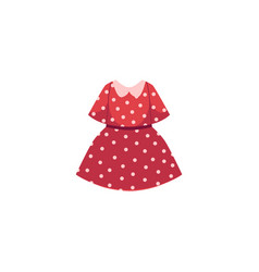 Flat cartoon kid girl red dotted dress vector