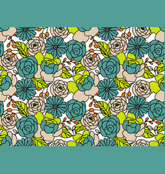 Floral pattern in hand drawn style with peony vector