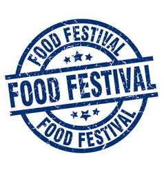 Food festival blue round grunge stamp vector