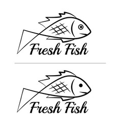 fresh fish logo symbol sign black colored set 7 vector image