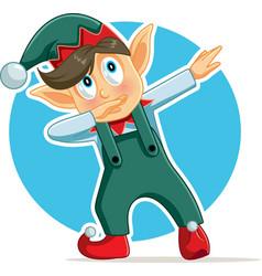 Funny dabbing christmas elf cartoon vector