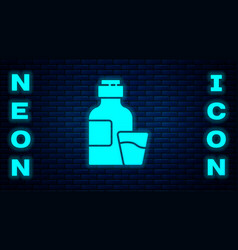 Glowing neon bottle medicine syrup and dose vector