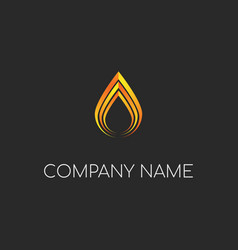 golden luxury water drop or fire candle logo vector image