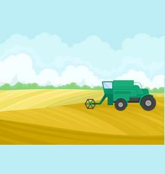 Green combine in field on vector
