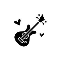 guitar music black icon sign on isolated vector image