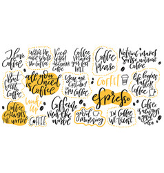 Handdrawn lettering set about coffee vector