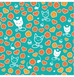 Hipster cat seamless on green background vector