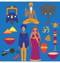 India symbols set Hinduism design elements South vector image
