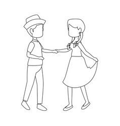 isolated peasants couple dancing vector image