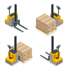 Isometric compact forklift trucks isolated vector