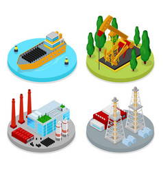 Isometric gas and oil industry industrial plant vector