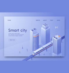 Isometric is written smart city landing page vector