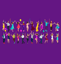 isometry celebratory party girls and men dancing vector image