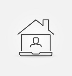 Laptop under roof line icon work from home vector
