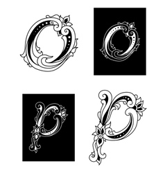 Letters O and P with floral embellishments vector image