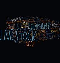 Livestock equipment text background word cloud vector