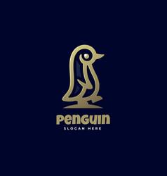 Logo penguin line art style vector