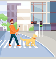 Man crossing street with guide-dog flat vector