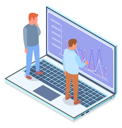 Men looking analysing chart graphic at screen vector