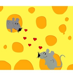 merry card with love mouse in cheese vector image