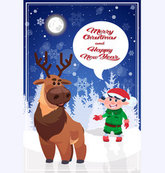 Merry christmas elf and reindeer on holiday vector