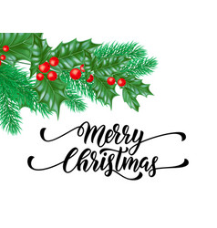 merry christmas trendy quote calligraphy on white vector image