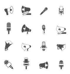 Microphone and megaphone icons black vector image vector image