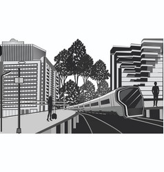 Modern cityscape - electric train - passengers on vector