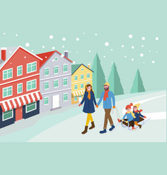 mother and father pulling sledges with children vector image