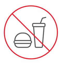no food thin line icon prohibition and forbidden vector image