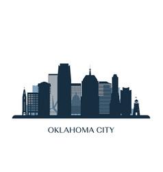 oklahoma city skyline monochrome silhouette vector image